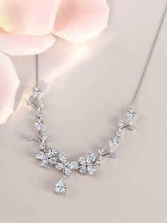 Create the perfect look for your big day with this butterfly cubic zirconia necklace.