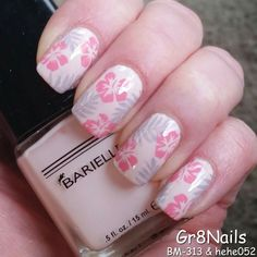 Pink floral stamping by Gr8Nails