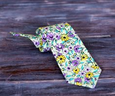 Boys Floral Gentle Yellow Cotton Necktie, neck tie in infant, toddler, or child sizes, pre-tied and adjustable - pinned by pin4etsy.com