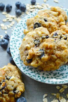 White Chocolate Blueberry Oat Cookies can be a great afternoon pick-me-up. Grab a cup of tea, and you're set!