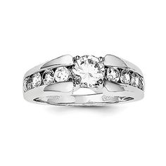Sterling Silver Rhodium Plated Synthetic CZ Ring -- Want to know more, click on the image.