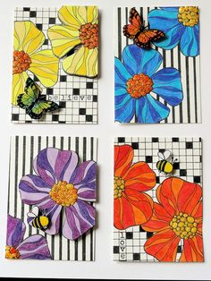 colored pencils flowers and butterflies on a striped or printed black and white background
