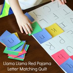 This Llama Llama Red Pajama alphabet activity was a great extension for the book. Practice uppercase and lowercase letter matching while making a quilt. Preschool Literacy, Preschool Letters, Preschool Lessons, Kindergarten Activities, Classroom Activities, Preschool Activities, Alphabet Activities, Book Activities, Llama Llama Red Pajama