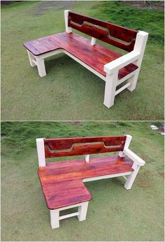 Creative DIY Wood Pallet Reusing Ideas: Wood pallet is wonderfully turning out to be the main ultimate choices of the house makers when it comes to the home furniture. Diy Wood Pallet, Pallet Bench, Wooden Pallet Furniture, Diy Pallet Projects, Wooden Pallets, Wood Projects, Diy Furniture, Pallet Ideas, Garden Furniture