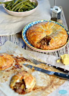 Steak and Cheese Pie with green beans by www.sweetashoney.co.nz