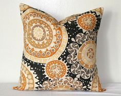 Suzani Gold and Black Medallion Decorative Pillow 18 inch Accent Pillow Throw Pillow Cushion Cover