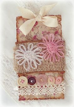 Stitching With Twine by AndreaEwen - Cards and Paper Crafts at Splitcoaststampers Twine Flowers, Handmade Tags, Pretty Box, Vintage Tags, Vintage Shabby Chic, Cute Bags, Christmas Tag, Postage Stamps, Burlap