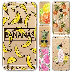 Hot Fruit Pineapple Banana Soft Silicon Transparent Case Cover For Apple iPhone 7 6 6S Plus 5 5S SE 7Plus 6Plus 6sPlus Coque