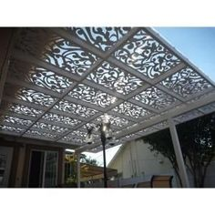 Vinyl decor panels from Home Depot... easy/inexpensive pergola alternative. Maybe add to playhouse.