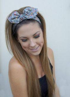 Dolly Bow Headband Rockabilly PIN UP Fabric Headwrap by Nachibands, $12.00