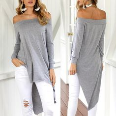 Off Shoulder Asymmetric Trim Casual Blouse Chic Me Clothing, Chic Outfits, Fall Outfits, Dress Tutorials, Comfortable Outfits, Sewing Clothes, Beautiful Outfits, Beautiful Clothes, Sleeve Styles