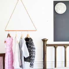 reclaimed Copper Pipe garment rack. hanging clothes rack. minimalist storage. industrial modern geometric triangle jute rope