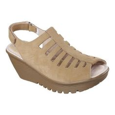d437cc7a0a90 Skechers Women s Parallel Trapezoid Platform Wedge Sandal Dark Natural