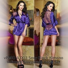 vPe30 A 003 Sexy Black Kimono Intimate Sleepwear Robe Set
