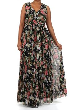 Top Shop Plus Size Printed Wrapped Bodice Long Maxi Dress
