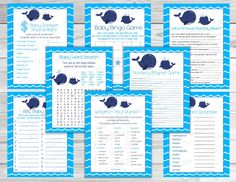 Whale Baby shower games set of 8 game bundle Printable whale games INSTANT DOWNLOAD  UPrint  by greenmelonstudios nautical whale baby shower by greenmelonstudios on Etsy