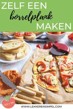 Zelf een borrelplank maken - Lekker en Simpel Party Snacks, Bruschetta, Good Food, Fun Food, Nom Nom, Tacos, Brunch, Appetizers, Pizza