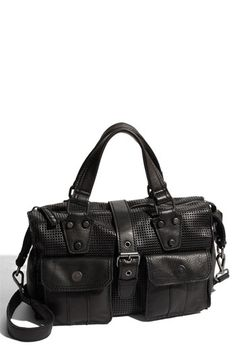 black perforated leather satchel