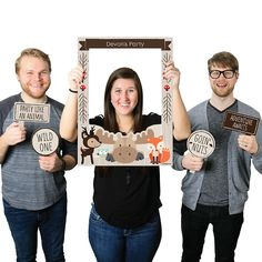 Woodland Creatures - Personalized Birthday Party or Baby Shower Photo Booth Picture Frame & Props - Printed on Sturdy Plastic Material | BigDotOfHappiness.com