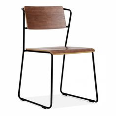 Cult Design Tram Chair Black With Wood Option - Cult Design from Cult Furniture UK Dinning Chairs, Dining Tables, Dining Rooms, Vintage Inspiriert, Metal Chairs, Walnut Finish, Minimalist Decor, Industrial Style, Room Inspiration