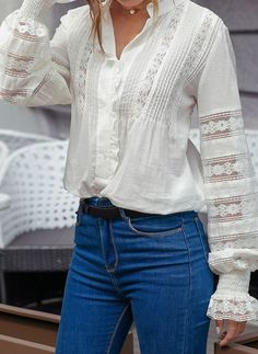 Solid Stand Collar Long Sleeve, Blouses - White / S Latest Fashion Clothes, Latest Fashion For Women, Fashion Outfits, Women's Fashion, Fashion Online, Half Sleeve Shirts, White Lace Blouse, Embroidery Fashion, Cotton Blouses