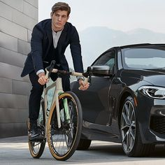 BMW recently partnered with to create a special edition for BMW,' available in two color variations for the adventure-seeking BMW clientele. Bmw Design, Bicycle Painting, Bicycle Components, Cool Bicycles, Transportation Design, Alloy Wheel, Cycling Outfit, Road Bike, Cycling Tips