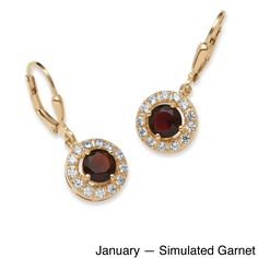 Palm Beach Jewelry PalmBeach Birthstone Halo Drop Earrings in 18k Gold Over .925 Sterling Silver Color Fun