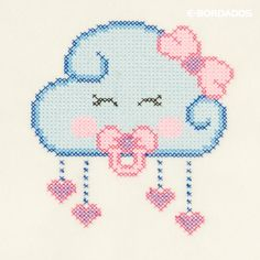 Embroidered Cloud Matrix Bebe in Cross Stitch Cross Stitch Owl, Free Cross Stitch Charts, Baby Cross Stitch Patterns, Cross Stitch Designs, Cross Stitching, New Embroidery Designs, Hand Embroidery Videos, Embroidery Stitches, Boys Knitting Patterns Free