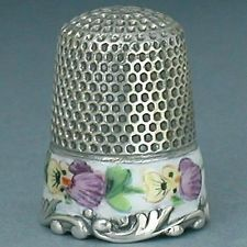 Antique Enamel Pansy Band Sterling Silver Thimble by Ketcham & McDougall * C1890
