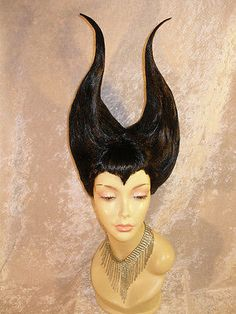 DISNEY MALEFICENT INSPIRED JOLIE BLACK PANTO DAME COSPLAY  DRAG QUEEN  WIG NEW!