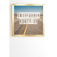 "East Urban Home California Route 66 by Catherine Mcdonald Framed Textual Art Size: 30"" H x 30"" W x 1"" D, Frame Color: Gold"