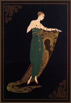 "Classic erte' art deco book plate print ""emerald night"" gift"