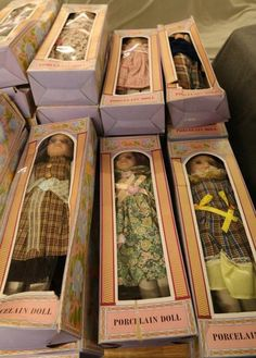 "Porcelain Dolls all having boxes approx. 16""T. No visible markings."