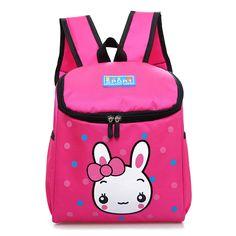 Sale 21% (12.34$) - Fashion Children Nylon School Bags Rabbit Lunch Bag Backpack for Boys Girls Kids
