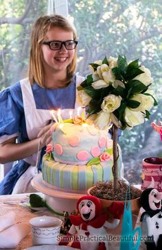 Pinterest: An Alice in Wonderland birthday party with tons of ideas for decorations, food, games, and invitations | A Mad Hatter's Tea party with a rabbit hole, mome raths, a caucus race, a topsy turvy cake, giant flowers, nonsense, and fun
