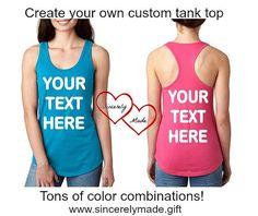 c6f234a9f7217b Custom Tank Top -Custom Tank - Personalized Tank Top - Racerback Tank -  Bachelorette Shirts - Marathon Shirts - Bridesmaid Tanks - Workout
