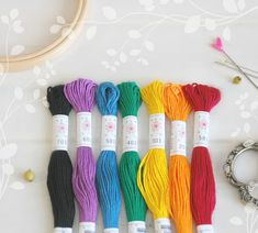 "Embroidery Floss ""Rainbow Pallete"" - 7 Skeins Pack - Embroidery Thread by Sublime - Sublime Stitching - Cotton Floss - Embroidery Floss Metallic Thread, Silk Thread, Cotton Thread, Embroidery Scissors, Happy Colors, Green Day, Ultra Violet, Wool Felt, Rainbow"