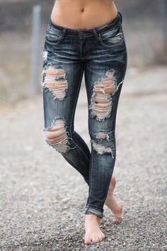 Around Town Distressed Stone Wash Machine Skinny Jeans (Dark Wash) - NanaMacs.com - 1