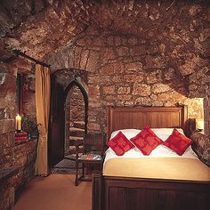 Castle Bedroom - I would prefer most of them to be a bit more cozy, but I like the stone! They need a big tapestry!