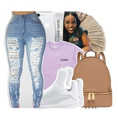 A fashion look from March 2017 featuring purple top, high-waist trousers and puma trainers. Browse and shop related looks. Lit Outfits, Purple Outfits, Dope Outfits, Teen Fashion Outfits, School Outfits, Date Outfit Casual, Casual Outfits, Crop Top With Jeans, Birthday Fashion