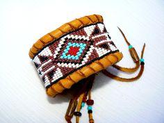 CUSTOM ORDER This - Native American Beaded Deerskin Cuff Bracelet, Geometric Arrow Design, Black, White Turquoise Red & Copper Beadwork OOAK on Etsy, $68.50