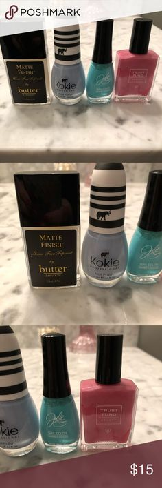 Nail polish lot Colors in pics, the three colors were used once to test. The Matte top coat was never used and cost 15$ brand new. Makeup