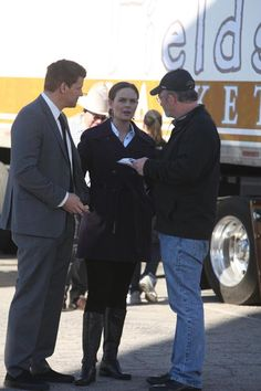 "Emily Deschanel and David Boreanaz behind the scenes of ""The Bump In The Road"" episode of BONES on FOX."