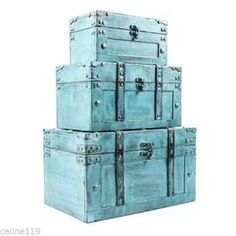Rustic-Antique-Turquoise-Storage-Trunk-Box-Set-of-Three-Country-Farmhouse-Decor