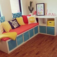 This is my Ikea Hack. Ikea expedit/kallax units,Clark rubber foam covered with a flat Target sheet. Cushions from Kmart, Target, Thingz. Accessories from Target and Kmart.: