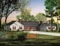 Ranch Style Home Landscape Trees & Shrubs