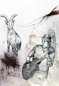 ilustración acuarela y tinta George Thorogood y cabra montesa