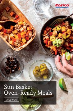 Skip the prep and cleanup with Sun Basket's Fresh (never frozen) Oven-Ready Meals. From clean ingredients to responsibly sourced meats and seafood, each dish is chef-crafted and dietitian-approved. Just cook the prepared meals in the oven or microwave for a flavor-packed, restaurant-quality meal that's ready in minutes. Shop for more meal delivery kits at Costco.com. Just Cooking, Butter Chicken, Dietitian, Costco, Food Preparation, Healthy Eats, Poultry, Microwave, Seafood