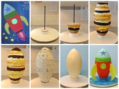 Rocket Cake Tutorial by Lovely Cakes Link to instructions… Rocket Ship Cakes, Rocket Cake, Anti Gravity Cake, Gravity Defying Cake, Rocket Birthday Parties, Sewing Machine Cake, Cake Frame, Cake Structure, Sculpted Cakes