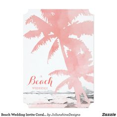 Shop Beach Wedding Invite Coral Palm Trees Wood created by JoSunshineDesigns. Beach Wedding Invitations, Cool Gifts, White Envelopes, Palm Trees, Summer Wedding, Invite, Coral, Tapestry, Landscape